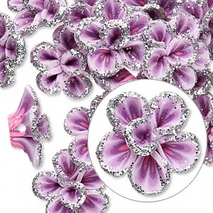 bead, polymer clay, lavender / dark purple / pink with silver-colored glitter, 16x15x11mm flower with 2-2.2mm hole. sold per pkg of 24.