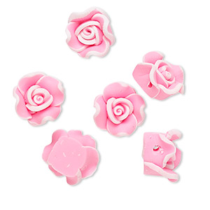 bead, polymer clay, pink, 11x11x8mm flower. sold per pkg of 6.