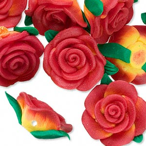 bead, polymer clay, red / yellow / green, 22x20x11mm rose with 1.8-2mm hole. sold per pkg of 12.