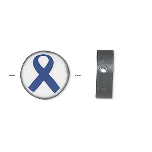 bead, polymer clay, white / black / blue, 14mm double-sided flat round with awareness ribbon. sold per pkg of 30.