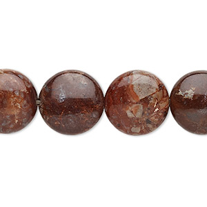 bead, pomegranate jasper (natural), 14mm puffed flat round with 0.5-1.5mm hole, b grade, mohs hardness 6-1/2 to 7. sold per 8-inch strand, approximately 15 beads.
