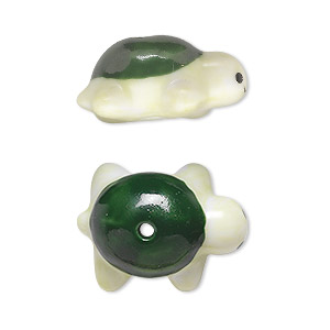 bead, porcelain, black / green / light green, 23x16mm 3d turtle. sold per pkg of 2.