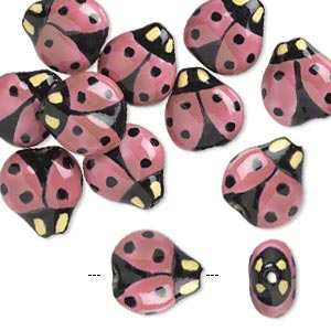 bead, porcelain, black / pink / yellow, 16x16mm double-sided hand-painted ladybug. sold per pkg of 10.