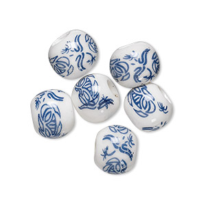 bead, porcelain, blue and white, 10mm round with hand-painted lotus, 3.5-4mm hole. sold per pkg of 6.