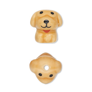 bead, porcelain, brown / black / red, 16x15mm 3d dog. sold per pkg of 2.