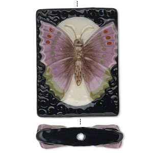 bead, porcelain with enamel, multicolored, 40x30mm double-sided flat rectangle with butterfly design. sold individually.