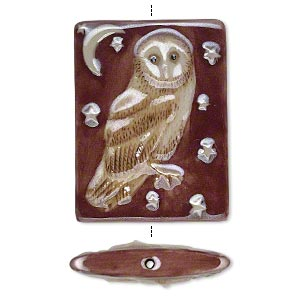 bead, porcelain with enamel, red/brown/white, 40x30mm double-sided puffed rectangle with owl and night sky design. sold individually.