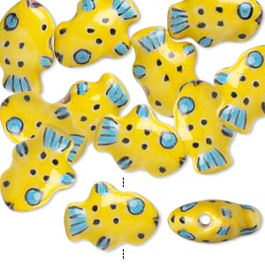 bead, porcelain, yellow / blue / black, 18x13mm double-sided fish. sold per pkg of 10.