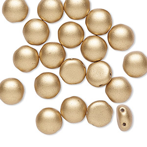 bead, preciosa candy™, czech pressed glass, opaque satin gold, 8mm candy with (2) 0.8-0.9mm holes. sold per pkg of 20.