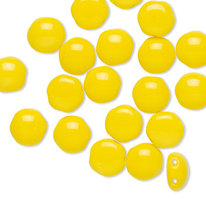 bead, preciosa candy™, czech pressed glass, opaque yellow, 8mm candy with (2) 0.8-0.9mm holes. sold per pkg of 20.