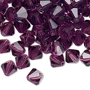 bead, preciosa czech crystal, amethyst, 8mm faceted bicone. sold per pkg of 72.