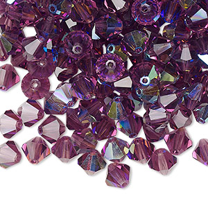 bead, preciosa czech crystal, amethyst ab, 6mm faceted bicone. sold per pkg of 288 (2 gross).