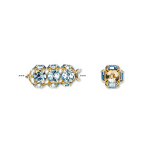 bead, preciosa czech crystal and gold-plated brass, aquamarine, 16x7mm tube. sold per pkg of 2.