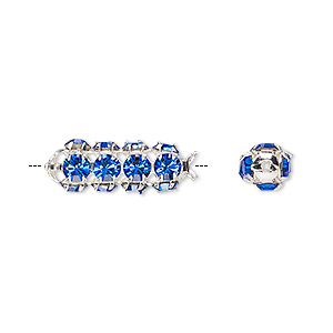 bead, preciosa czech crystal and silver-plated brass, sapphire, 20x7mm tube. sold per pkg of 2.