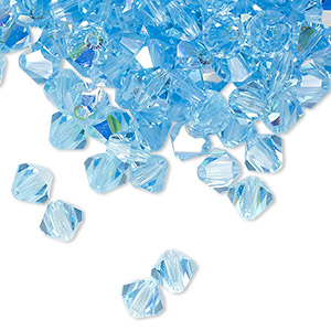 bead, preciosa czech crystal, aquamarine ab, 6mm faceted bicone. sold per pkg of 288 (2 gross).