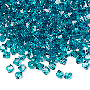 bead, preciosa czech crystal, blue zircon, 4mm faceted bicone. sold per pkg of 48.