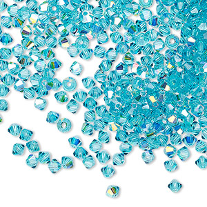 bead, preciosa czech crystal, blue zircon ab, 3mm faceted bicone with 0.7-0.8mm hole. sold per pkg of 48.