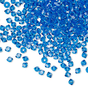 bead, preciosa czech crystal, capri blue, 3mm faceted bicone with 0.7-0.8mm hole. sold per pkg of 144 (1 gross).