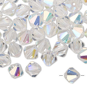 bead, preciosa czech crystal, crystal ab, 8mm faceted bicone. sold per pkg of 72.