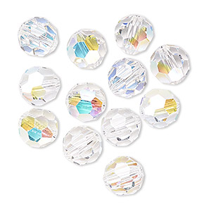 bead, preciosa czech crystal, crystal ab, 8mm faceted round. sold per pkg of12.