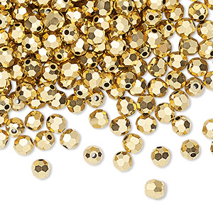 bead, preciosa czech crystal, crystal aurum 2x, 4mm faceted round. sold per pkg of 144 (1 gross).