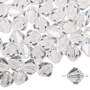 bead, preciosa czech crystal, crystal clear, 8mm faceted bicone. sold per pkg of 12.