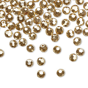 bead, preciosa czech crystal, crystal golden flare 2x, 4mm faceted round. sold per pkg of 12.