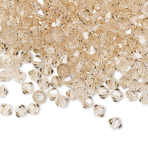 bead, preciosa czech crystal, crystal honey, 4mm faceted bicone. sold per pkg of 48.