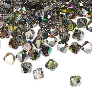 bead, preciosa czech crystal, crystal vitrail medium, 6mm faceted bicone. sold per pkg of 24.