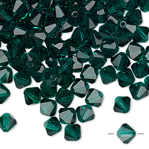 bead, preciosa czech crystal, emerald, 6mm faceted bicone. sold per pkg of 288 (2 gross).