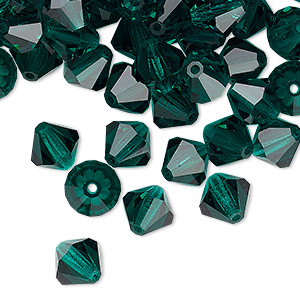 bead, preciosa czech crystal, emerald, 8mm faceted bicone. sold per pkg of 144 (1 gross).
