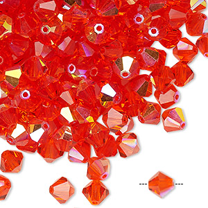 bead, preciosa czech crystal, hyacinth ab, 6mm faceted bicone. sold per pkg of 144 (1 gross).