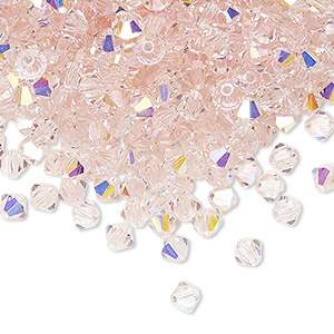 bead, preciosa czech crystal, light rose ab, 4mm faceted bicone. sold per pkg of 720 (5 gross).