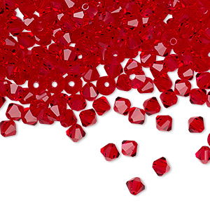 bead, preciosa czech crystal, light siam, 4mm faceted bicone. sold per pkg of 48.