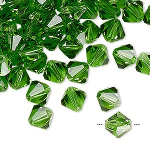 bead, preciosa czech crystal, peridot, 8mm faceted bicone. sold per pkg of 144 (1 gross).