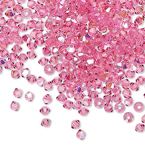 bead, preciosa czech crystal, rose ab, 3mm faceted bicone with 0.7-0.8mm hole. sold per pkg of 1,440 (10 gross).