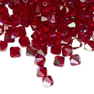 bead, preciosa czech crystal, siam ab, 6mm faceted bicone. sold per pkg of 24.