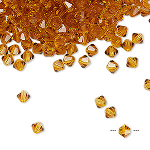 bead, preciosa czech crystal, topaz, 4mm faceted bicone. sold per pkg of 48.