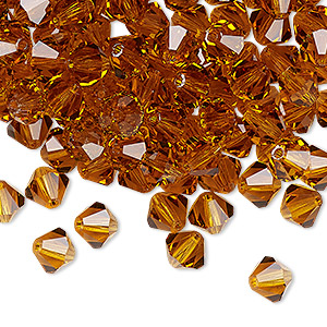 bead, preciosa czech crystal, topaz, 6mm faceted bicone. sold per pkg of 24.