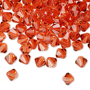 bead, preciosa czech crystal, transparent padparadscha, 6mm faceted bicone. sold per pkg of 144 (1 gross).