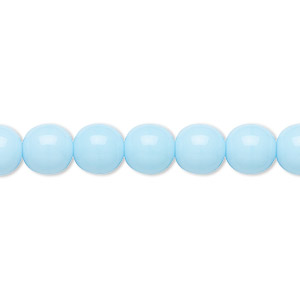 bead, preciosa, czech glass druk, opaque blue turquoise, 8mm round with 0.8-1.3mm hole. sold per 16-inch strand.