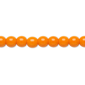 bead, preciosa, czech glass druk, opaque bright orange, 6mm round with 0.7-1.1mm hole. sold per 16-inch strand.