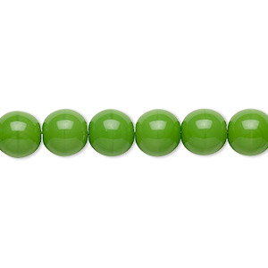bead, preciosa, czech glass druk, opaque candy green, 8mm round with 0.8-1.3mm hole. sold per 16-inch strand.