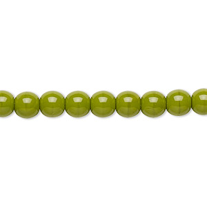 bead, preciosa, czech glass druk, opaque chartreuse, 6mm round with 0.7-1.1mm hole. sold per 16-inch strand.