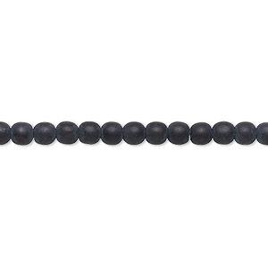 bead, preciosa, czech glass, opaque matte black, 4mm round with 0.8-1mm hole. sold per 16-inch strand.