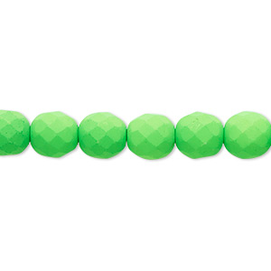 bead, preciosa, czech painted fire-polished glass, matte neon green, 8mm faceted round. sold per 8-inch strand, approximately 25 beads.