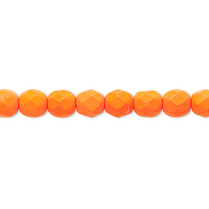 bead, preciosa, czech painted fire-polished glass, matte neon orange, 6mm faceted round. sold per 8-inch strand, approximately 35 beads.