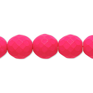 bead, preciosa, czech painted fire-polished glass, matte neon pink, 12mm faceted round. sold per 8-inch strand, approximately 15 beads.