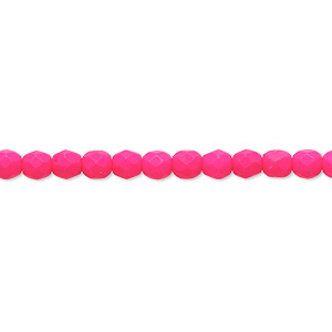 bead, preciosa, czech painted fire-polished glass, matte neon pink, 4mm faceted round. sold per 8-inch strand, approximately 50 beads.