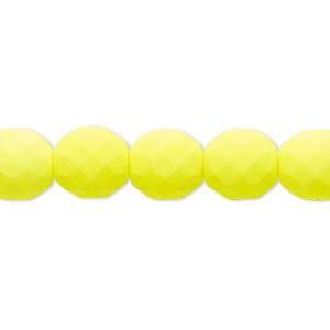 bead, preciosa, czech painted fire-polished glass, matte neon yellow, 10mm faceted round. sold per 8-inch strand, approximately 20 beads.